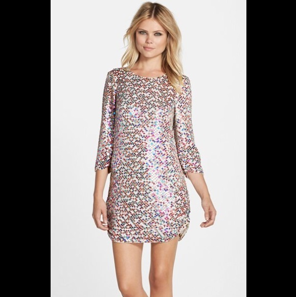 70ba5115d7a1 Parker Dresses | Black Petra Multicolor Sequin Mini Dress | Poshmark